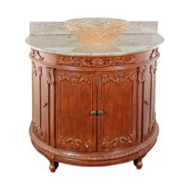 jsg oceana van pkg scr 14 semi circle vanity with beige granite top and 16 inch champagne gold pebble vessel sink oak walmart com