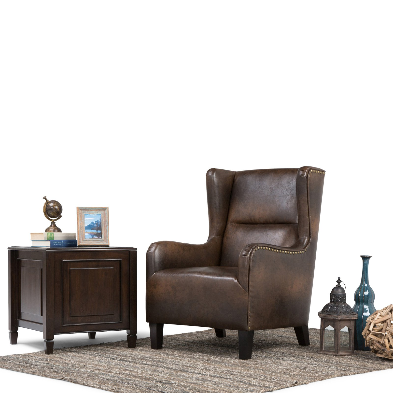 Brown Leather Wingback Chair Simpli Home Taylor Wingback Chair