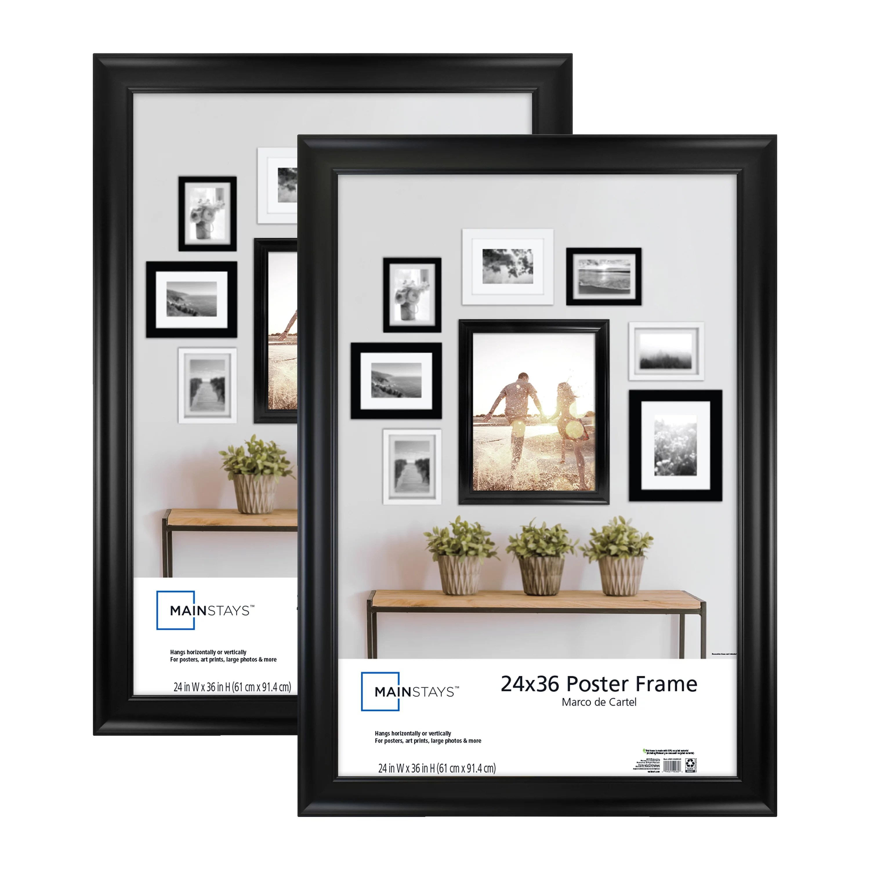mainstays 24x36 wide black poster and picture frame set of 2 walmart com