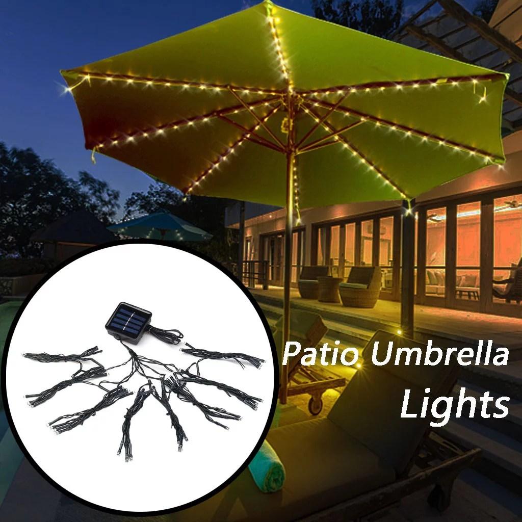 72led patio umbrella lights waterproof outdoor string lights solar