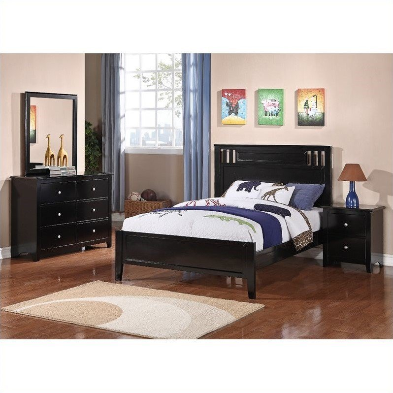 poundex bedroom furniture Poundex 4 Piece Bedroom Set in Black-Full - Walmart.com