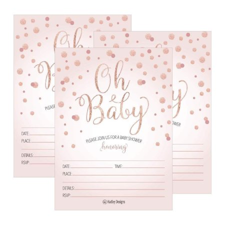 25 Blush Rose Gold Oh Baby Shower Invitations Cute Princess Printed Fill Or Write In Blank Invite Printable Shabby Chic Unique Custom Vintage