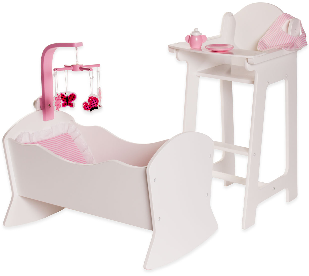 high chair with accessories old covers hire eimmie 18 inch doll furniture and cradle set walmart com