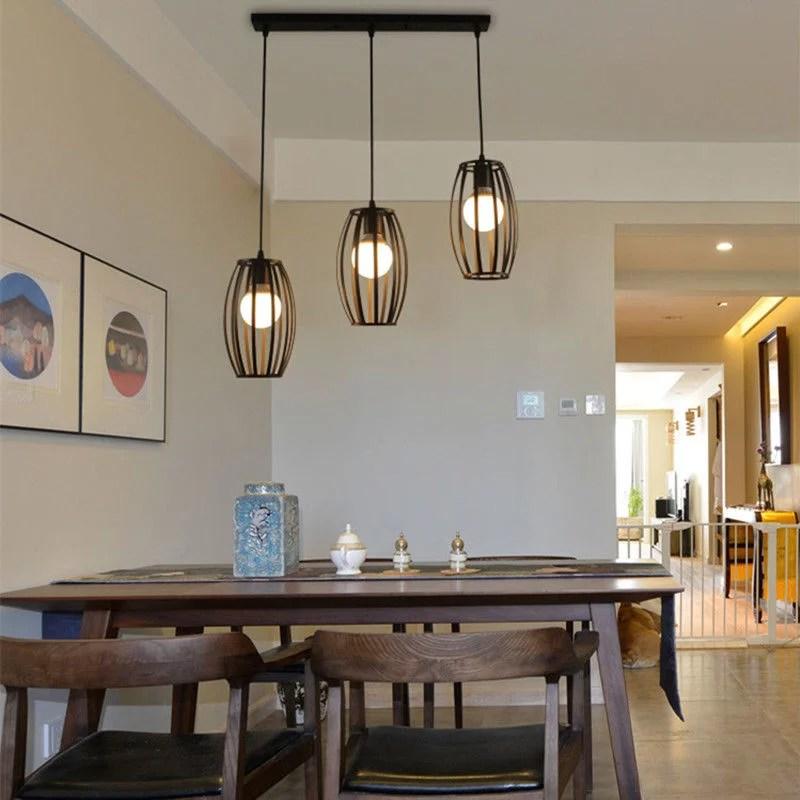 industrial pendant light vintage black metal cage chandelier lighting adjustable hanging ceiling lamp fixture for kitchen dining room entryway