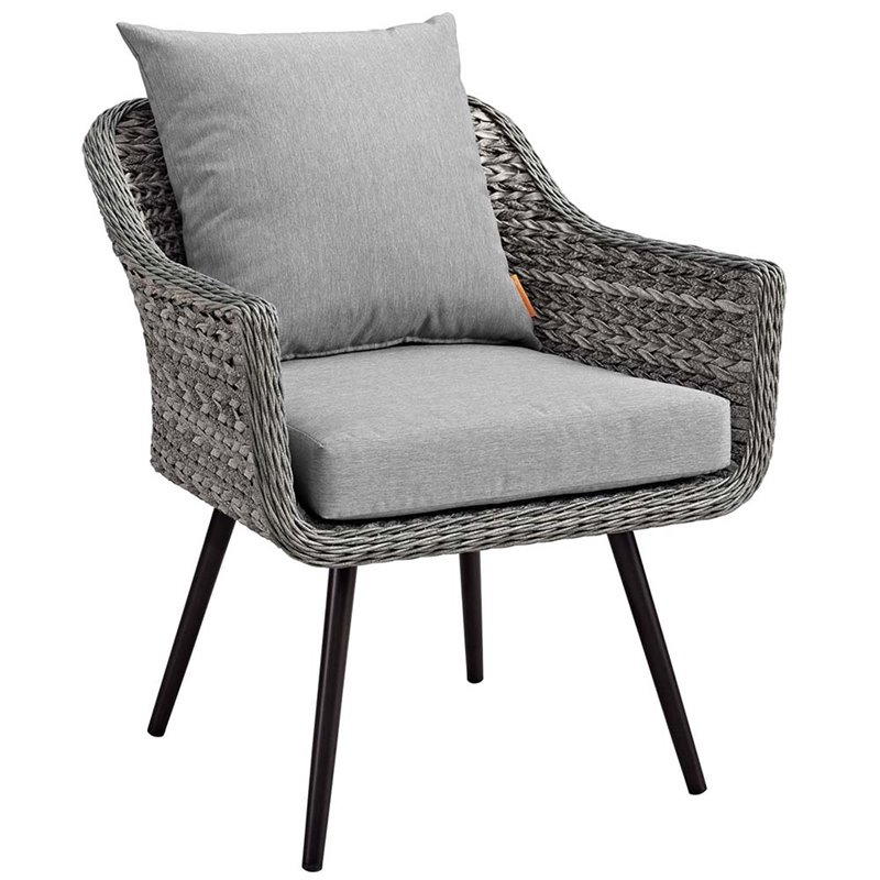 modway endeavor patio chair in gray