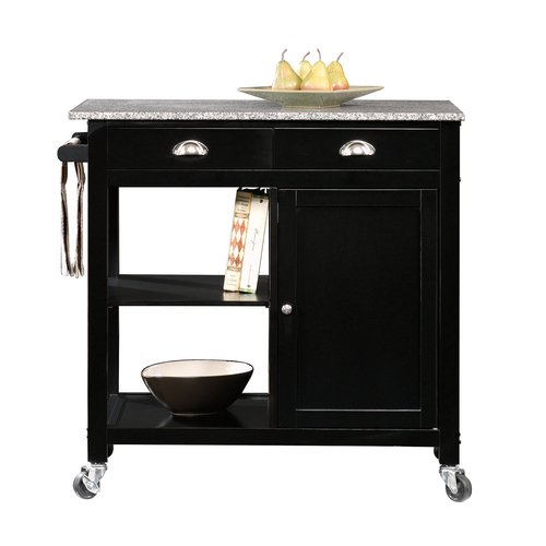 Better Homes and Gardens Kitchen Cart, Black/Granite