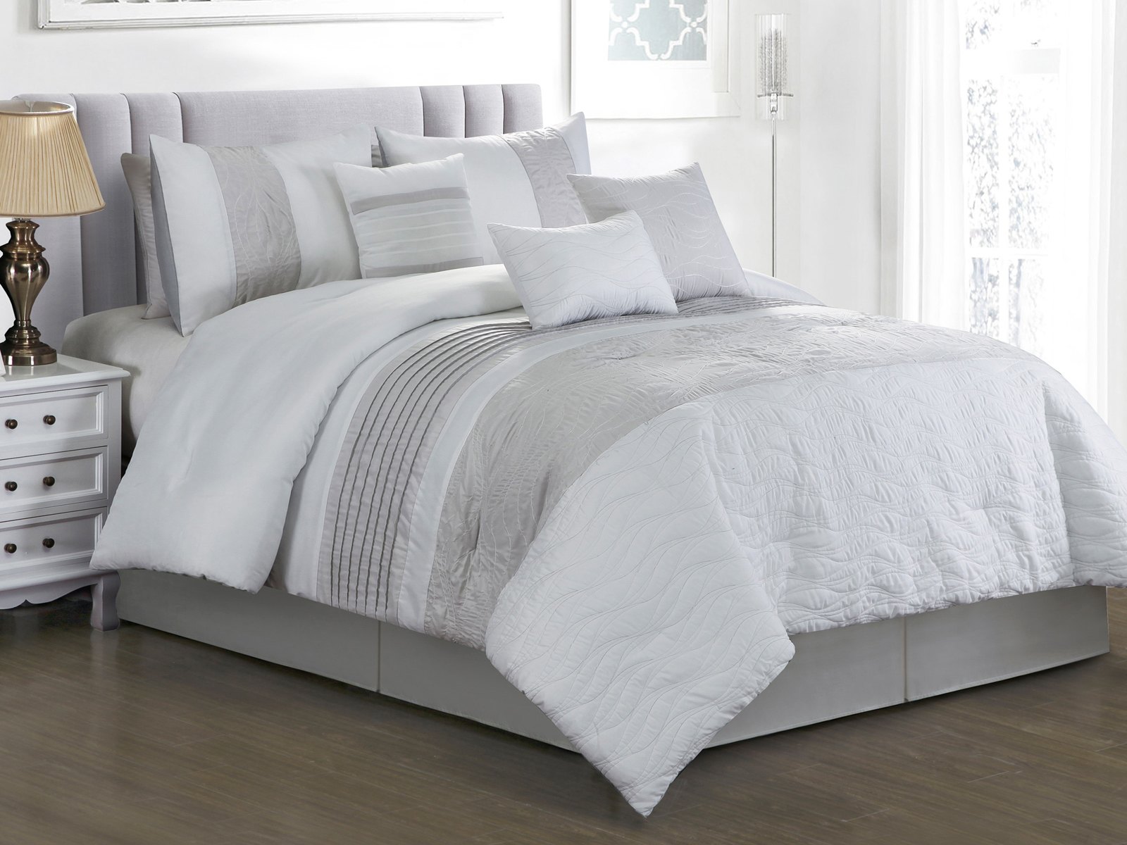 11 pc keani quilted abstract wavy lines embroidery pleated comforter curtain set white gray king walmart com