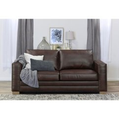 Serta Bonded Leather Convertible Sofa Double Reclining With Center Drop Down Cup Holders Mason 81 In Brown Walmart Com
