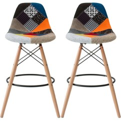 High Bar Stool Chairs Nj Chair Rentals Retired Set Of 2 Charles 25 Seat Height Countertop Fabric Eiffel Natural Wood With Back Rest