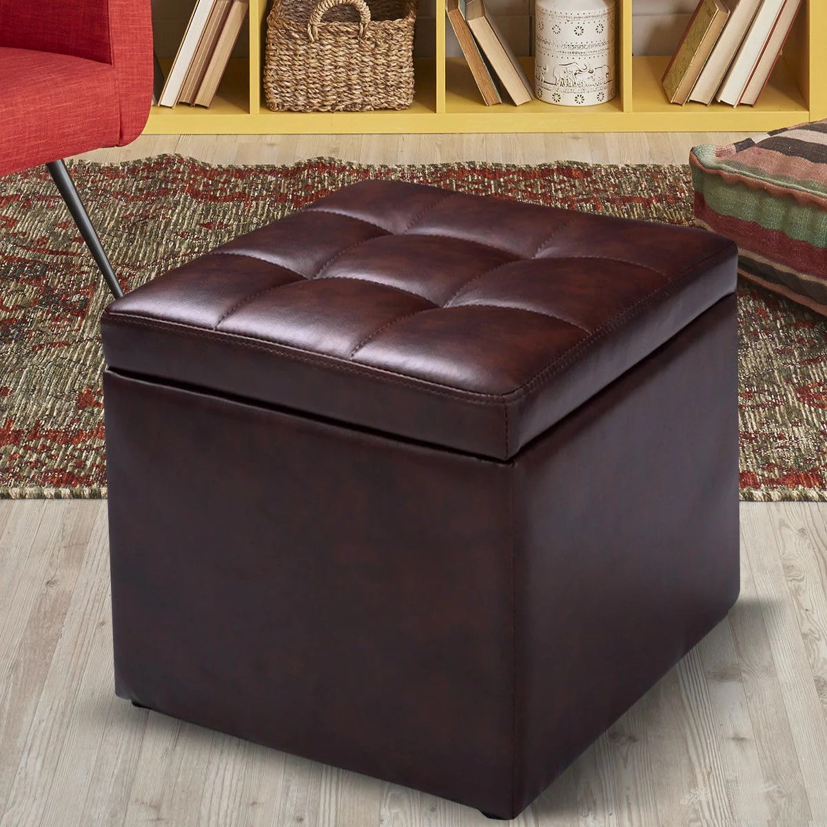 costway 16 cube ottoman pouffe storage box lounge seat footstools with hinge top red brown