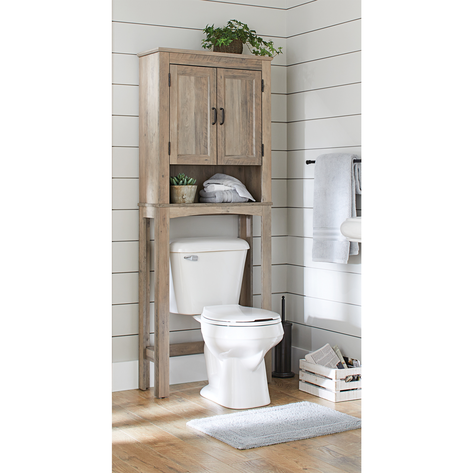 better homes gardens modern farmhouse over the toilet bathroom space saver with three shelves rustic gray finish