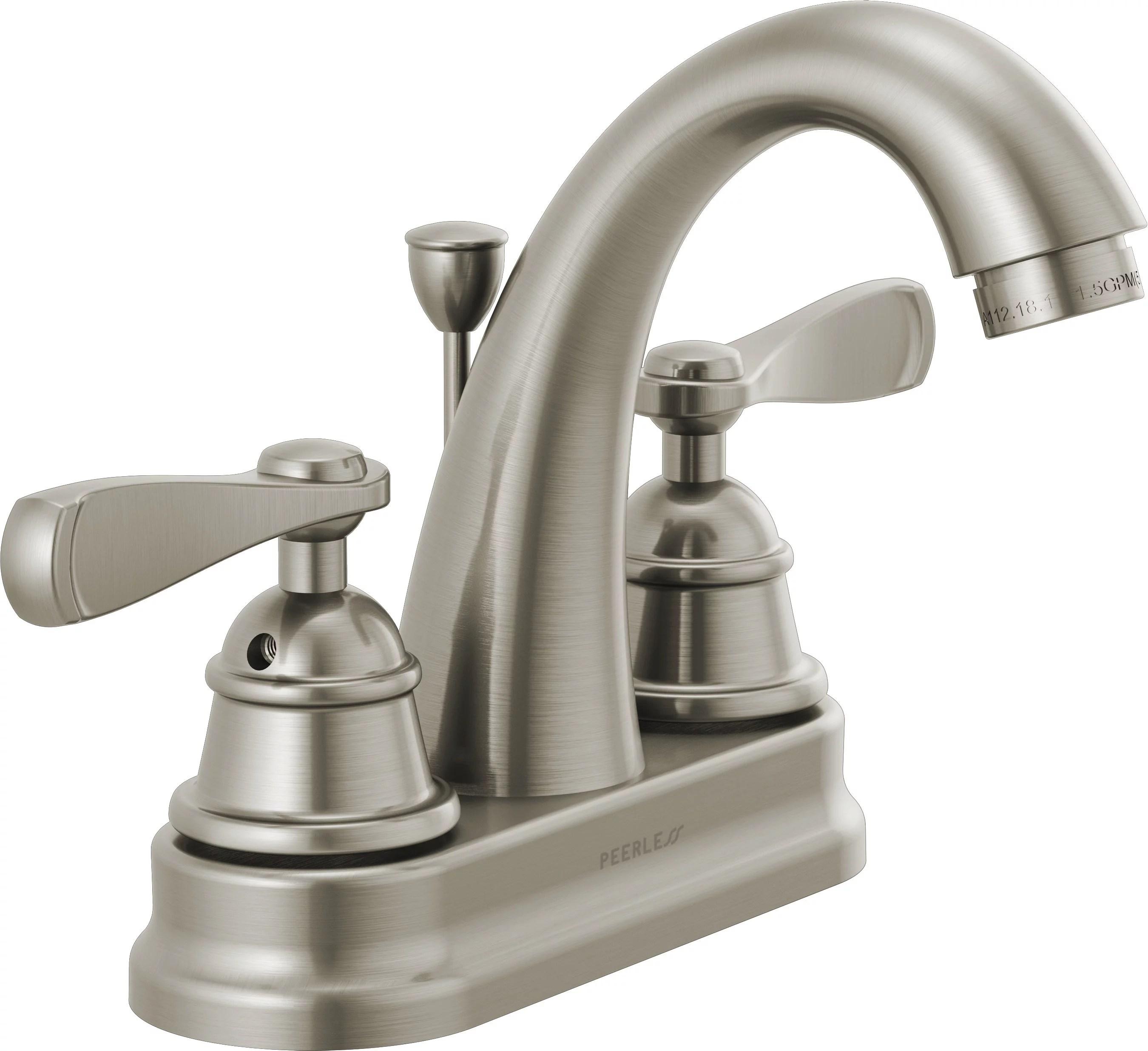 peerless centerset two handle bathroom faucet in brushed nickel