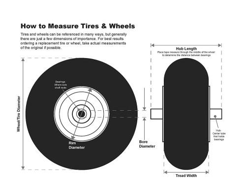 small resolution of shepherd hardware 9613e 8 inch semi pneumatic rubber replacement tire plastic wheel 1 3 4 inch diamond tread 1 2 inch bore offset axle walmart com