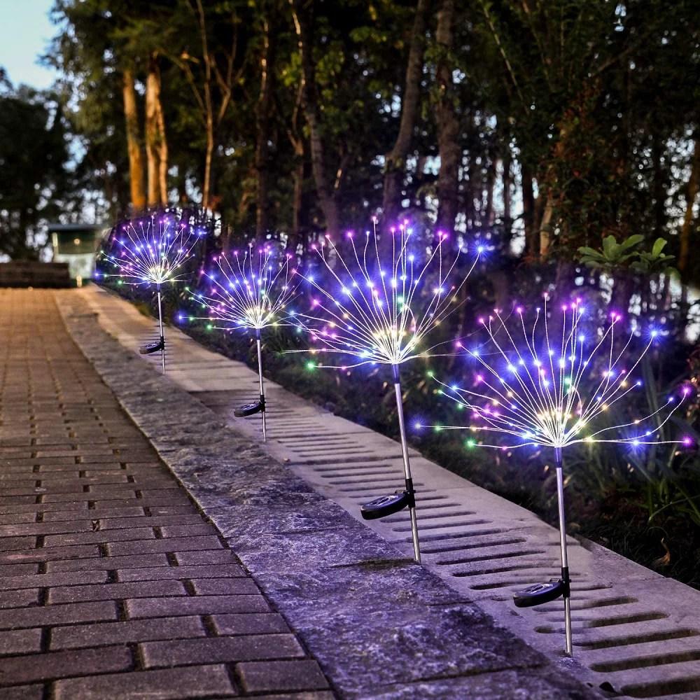 2 pcs solar outdoor firework light 120 led multi color garden decorative lights