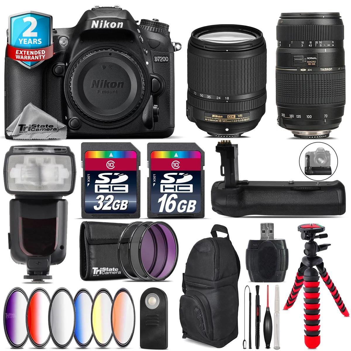 Nikon D7200 DSLR + AFS 18-140mm VR + Tamron 70-300mm + Remote - 48GB Bundle - Walmart.com - Walmart.com