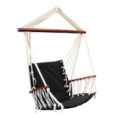Swing Chair Seat Wheelchair Base Omni Patio Hanging Hammock Cotton Rope With Cushion Black Walmart Com