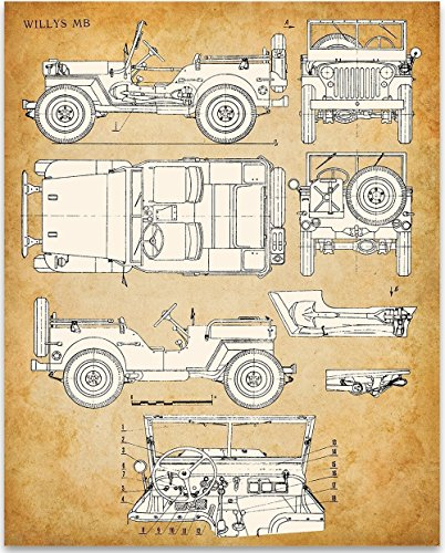 Willys Mb Jeep 11x14 Unframed Patent Print Great Gift