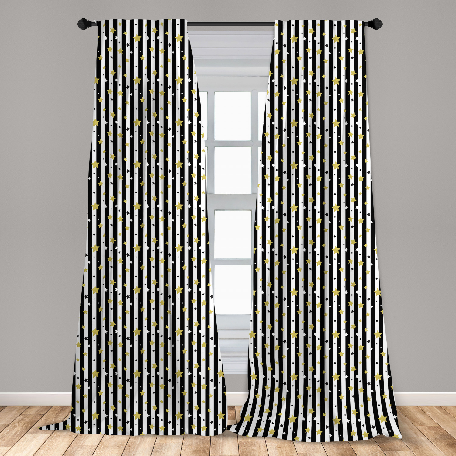 Shop for black curtains in bedroom at bed bath & beyond. Striped Curtains 2 Panels Set Black And White Lines Background With Big And Small Stars Pattern Print Window Drapes For Living Room Bedroom 56 W X 84 L Black White And Yellow By Ambesonne