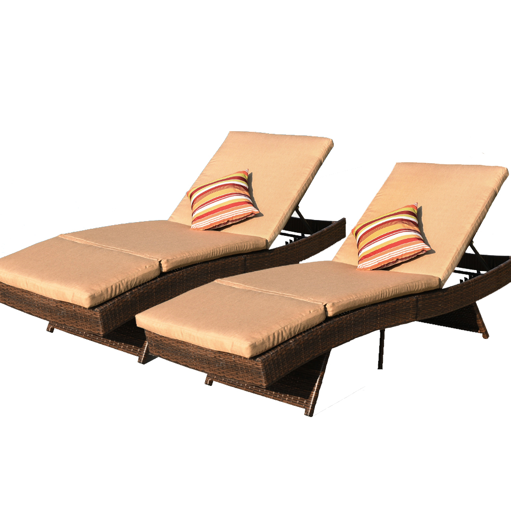 sundale outdoor 2pcs deluxe patio adjustable resin wicker chaise lounge chair set with cushions and 2 throw pillows tan