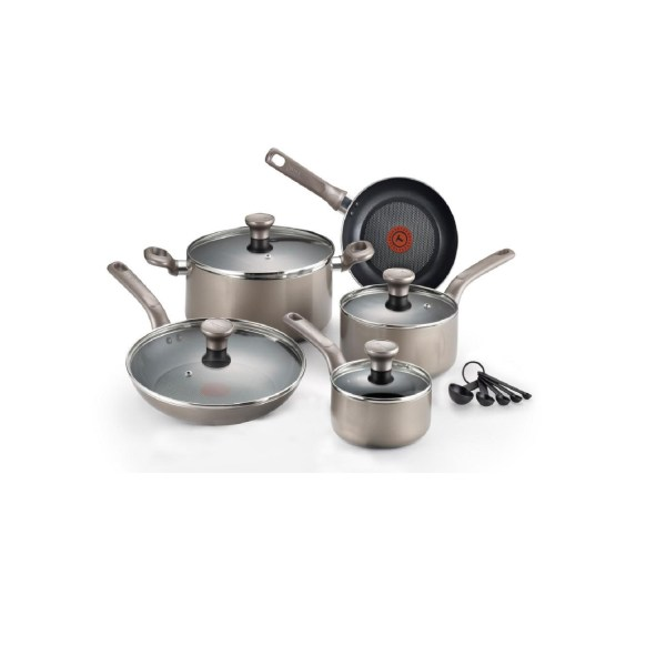 T-fal Excite 14 Pc. Cookware Set Platinum Shimmer