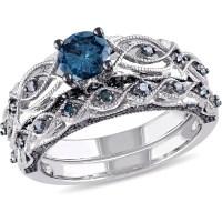 1 Carat T.W. Treated Blue Diamond 10kt White Gold Bridal ...
