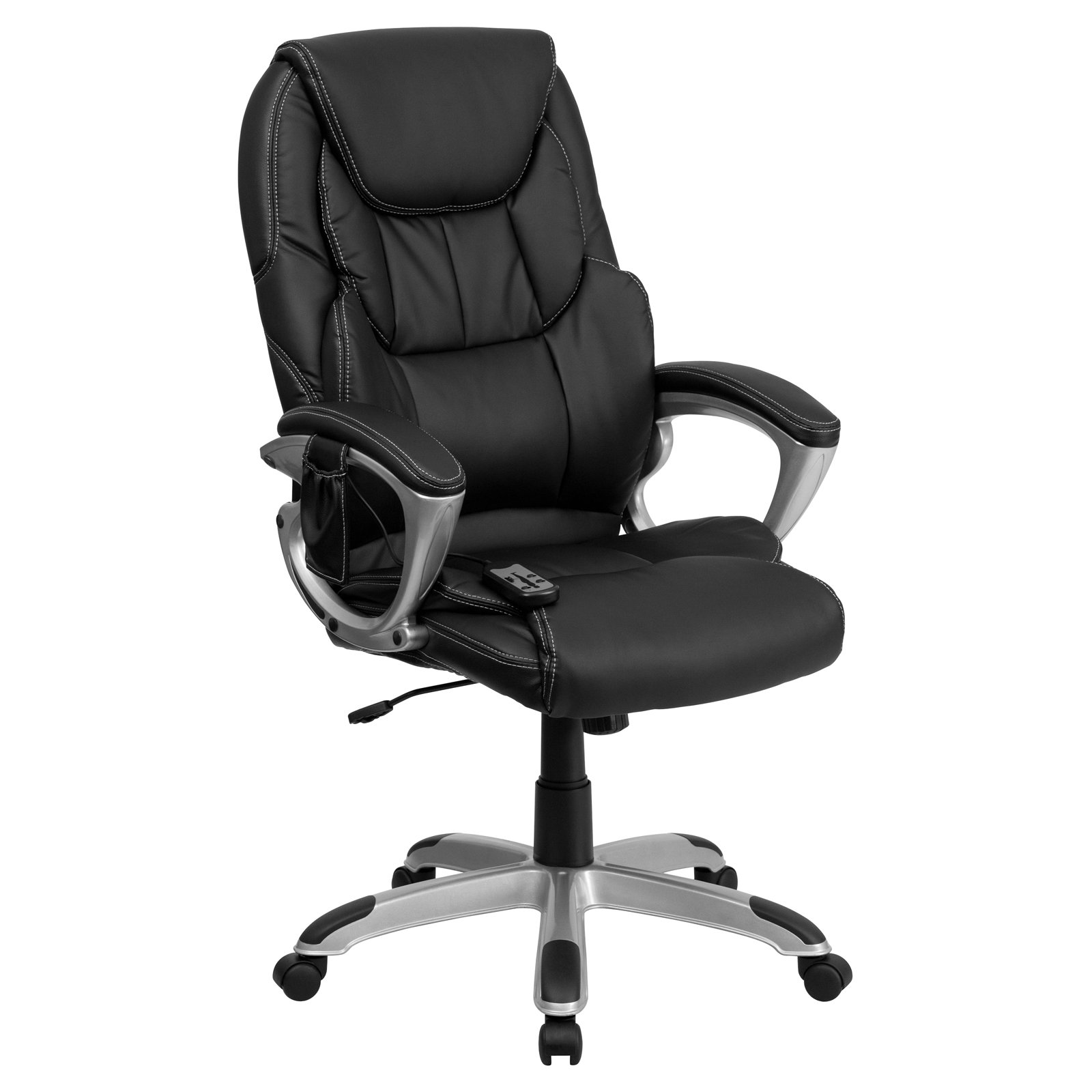 Massage Office Chair Flash Furniture High Back Massaging Leather Executive Office Chair With Silver Base Black