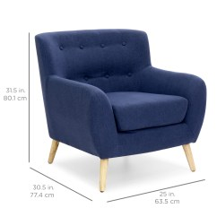Modern Accent Chairs Chair Cover Rental Malaysia Best Choice Products Mid Century Linen Upholstered Button Tufted For Living Room Bedroom Dark Blue Walmart Com