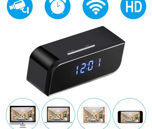 Hd P Wireless Wifi Ip Spy Hidden Camera Motion Security Alarm Clock Ir Cam