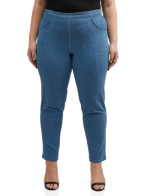 Size - Women' -size Pull- Stretch Woven Pants In Petite