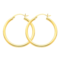 14K Yellow Gold Hollow Tube Round Hoop Earrings - 30mm ...