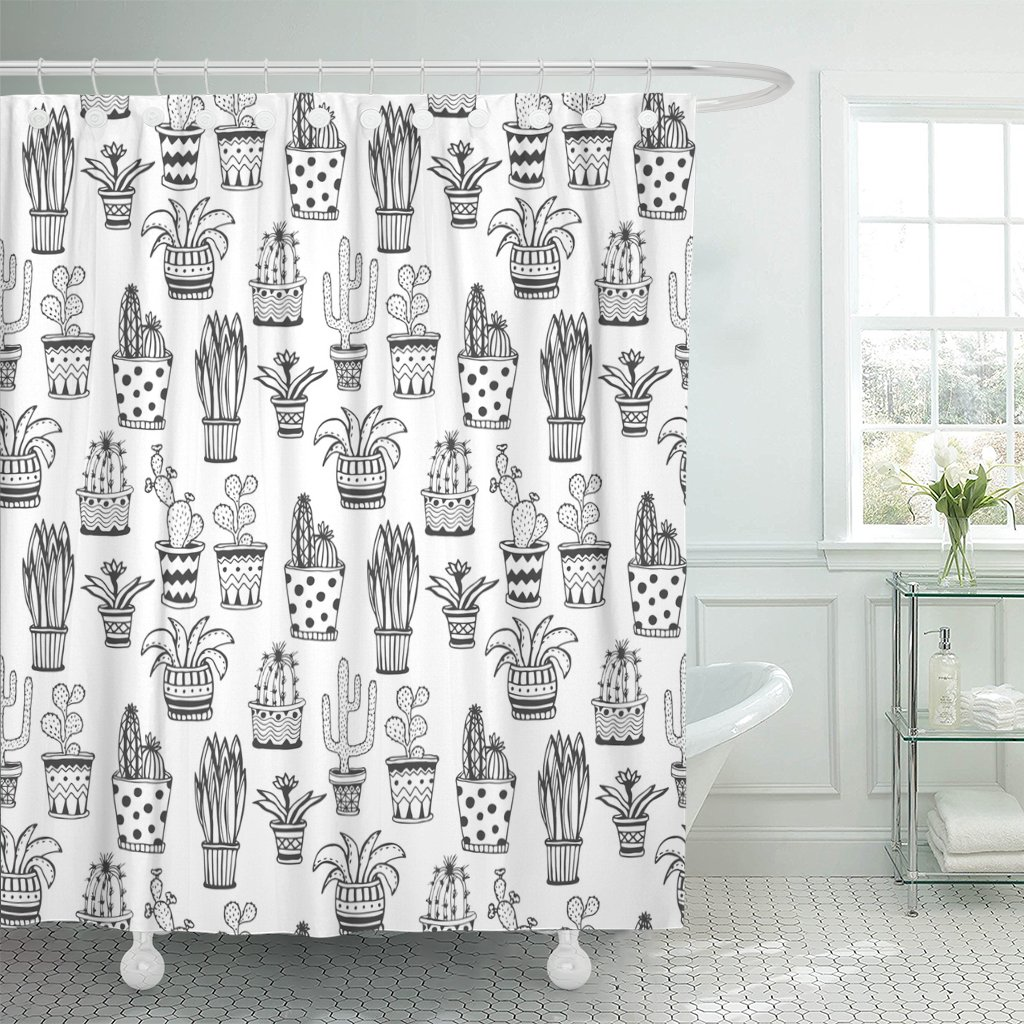 pknmt book succulent and cactus pattern doodle whimsical flowers polyester shower curtain 60x72 inches