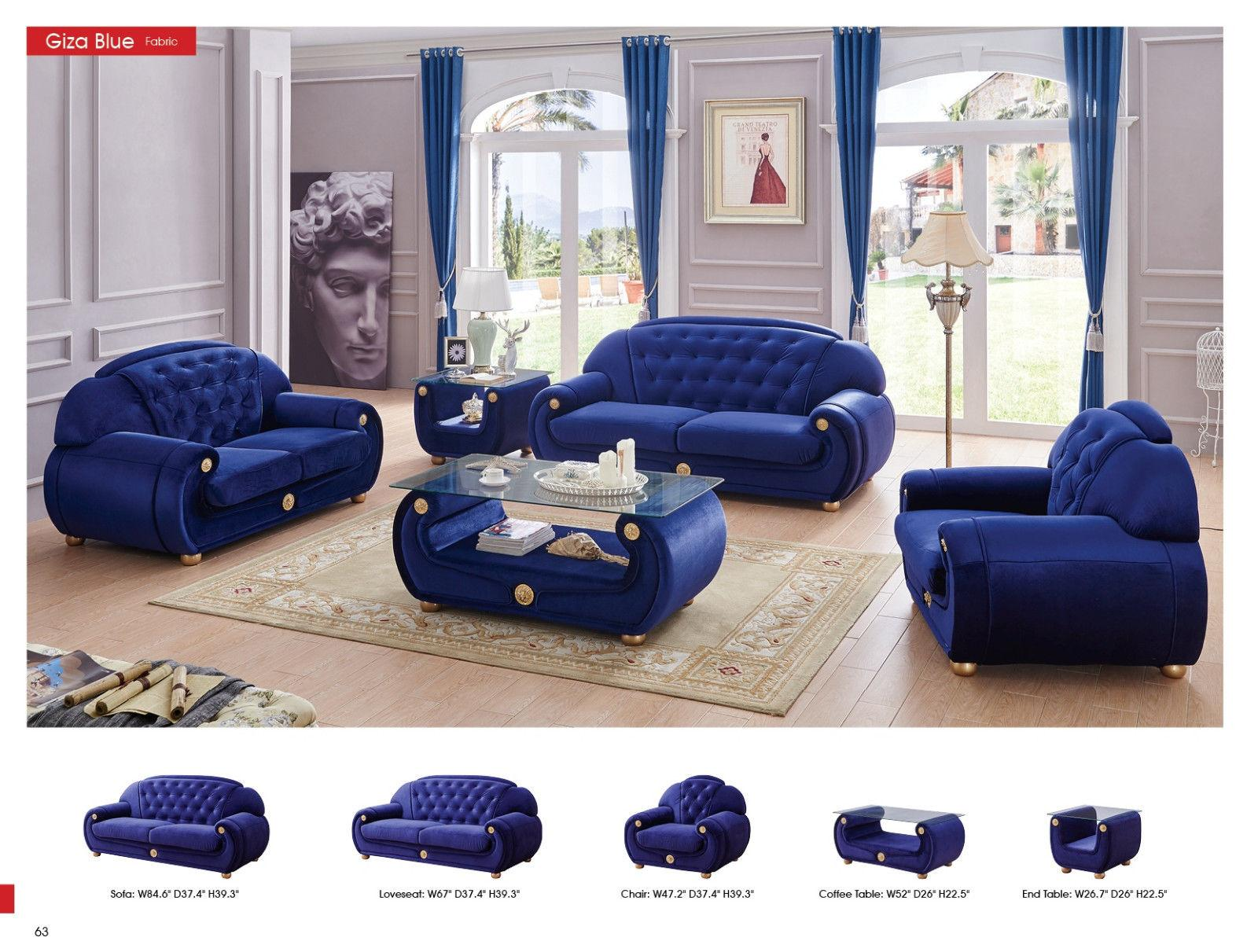 microfiber living room furniture recessed lighting esf giza contemporary luxury blue sofa loveseat chair set walmart com