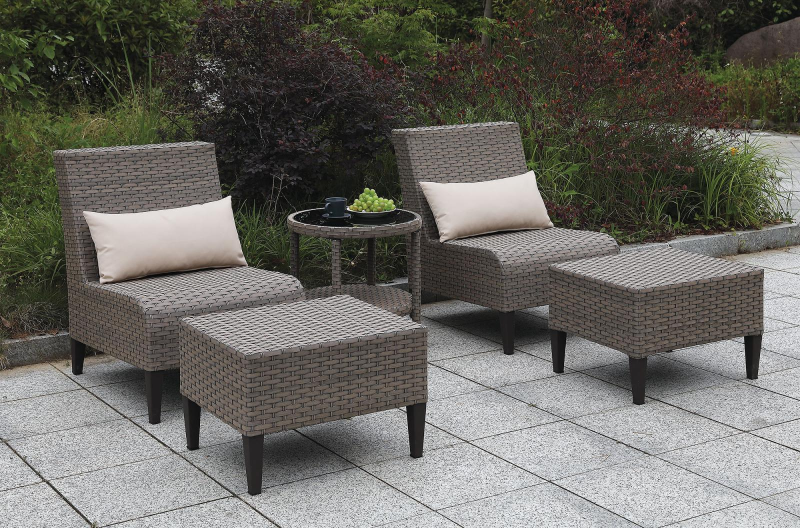 gray wicker aluminum frame patio set 5 pcs furniture of america vashira walmart com