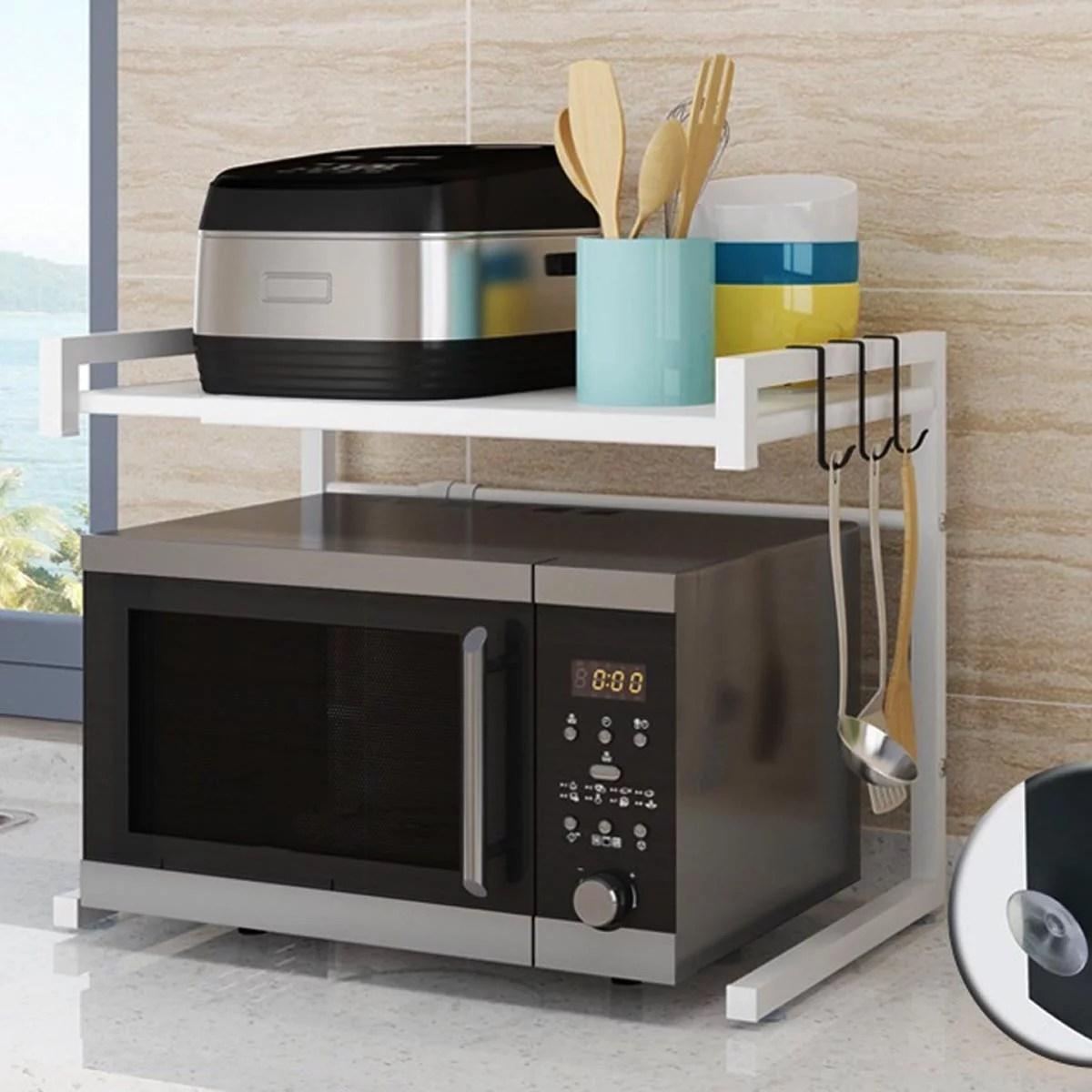 microwave oven rack retractable microwave oven rack shelf kitchen counter shelf organiser stand storage cabinet holder 3 hooks microwave mount