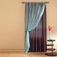 Aqua And Brown Living Room Curtains Low Budget Design Savvy Window Panel Chocolate Walmart Com