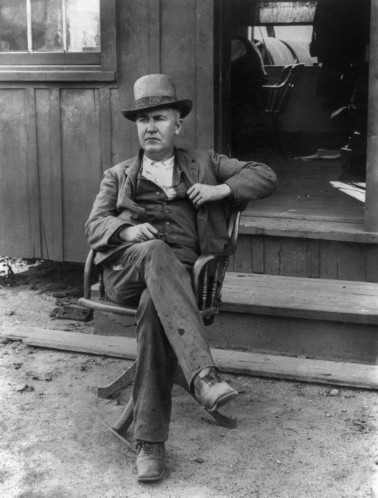 swivel chair inventor restaurant metal chairs thomas edison 1847 1931 namerican photographed seated in a outside of his office west orange new jersey c1895 poster print by