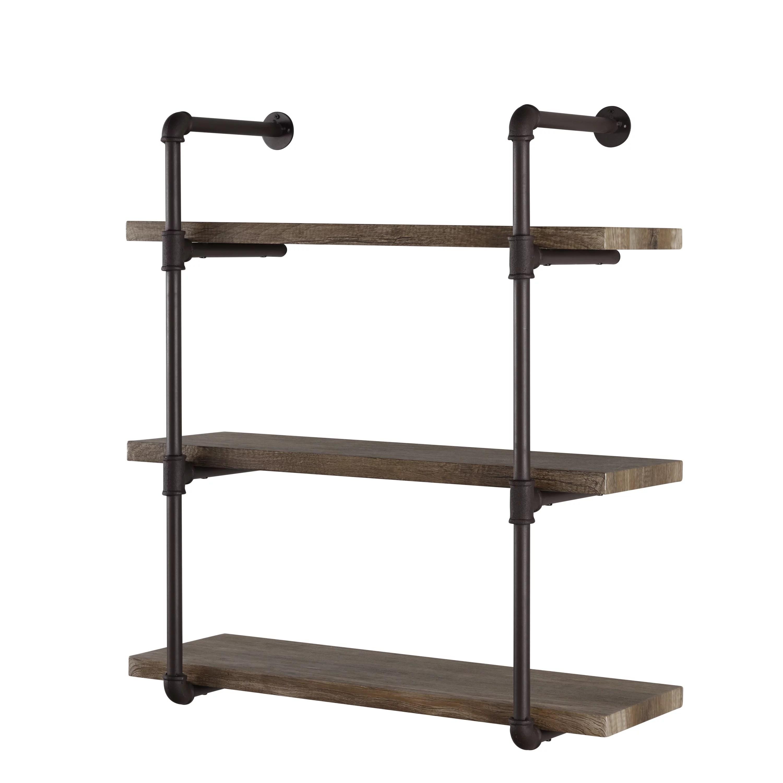 danya b three tier industrial pipe wall shelf