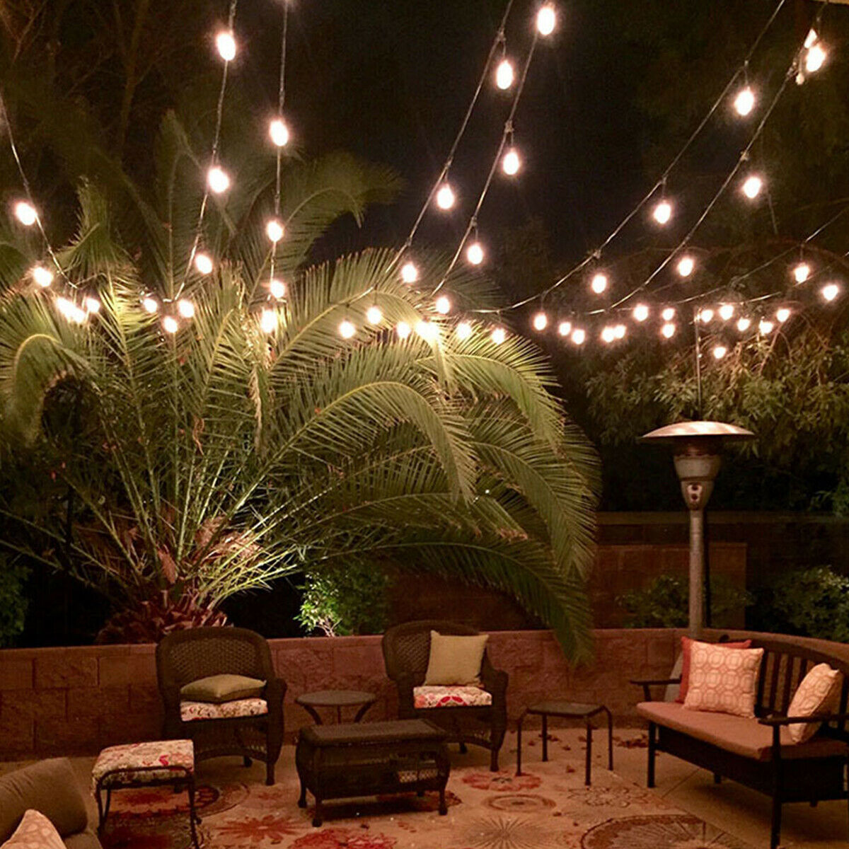48ft led outdoor waterproof commercial grade patio globe string lights bulbs