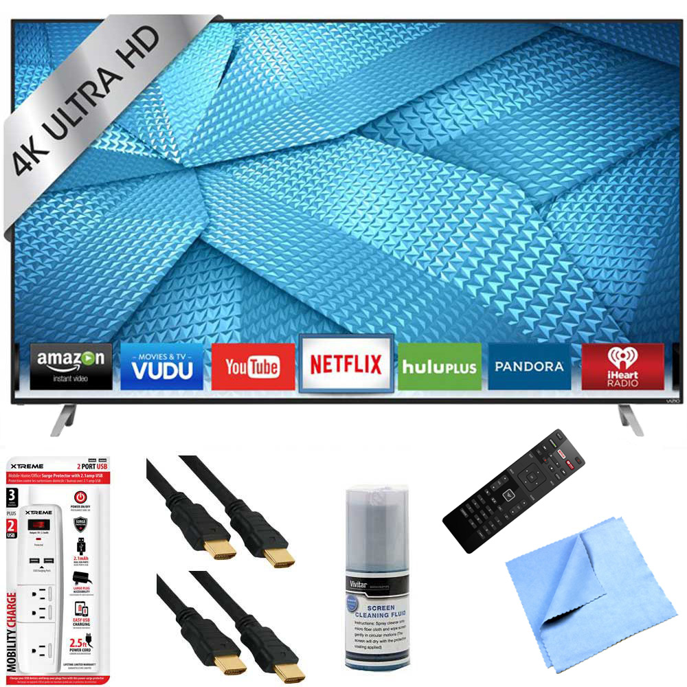 hight resolution of  43 inch 120hz 4k ultra hd m series led smart hdtv plus hook up bundle includes tv 3 outlet surge protector with usb ports 2 x high speed hdmi cable