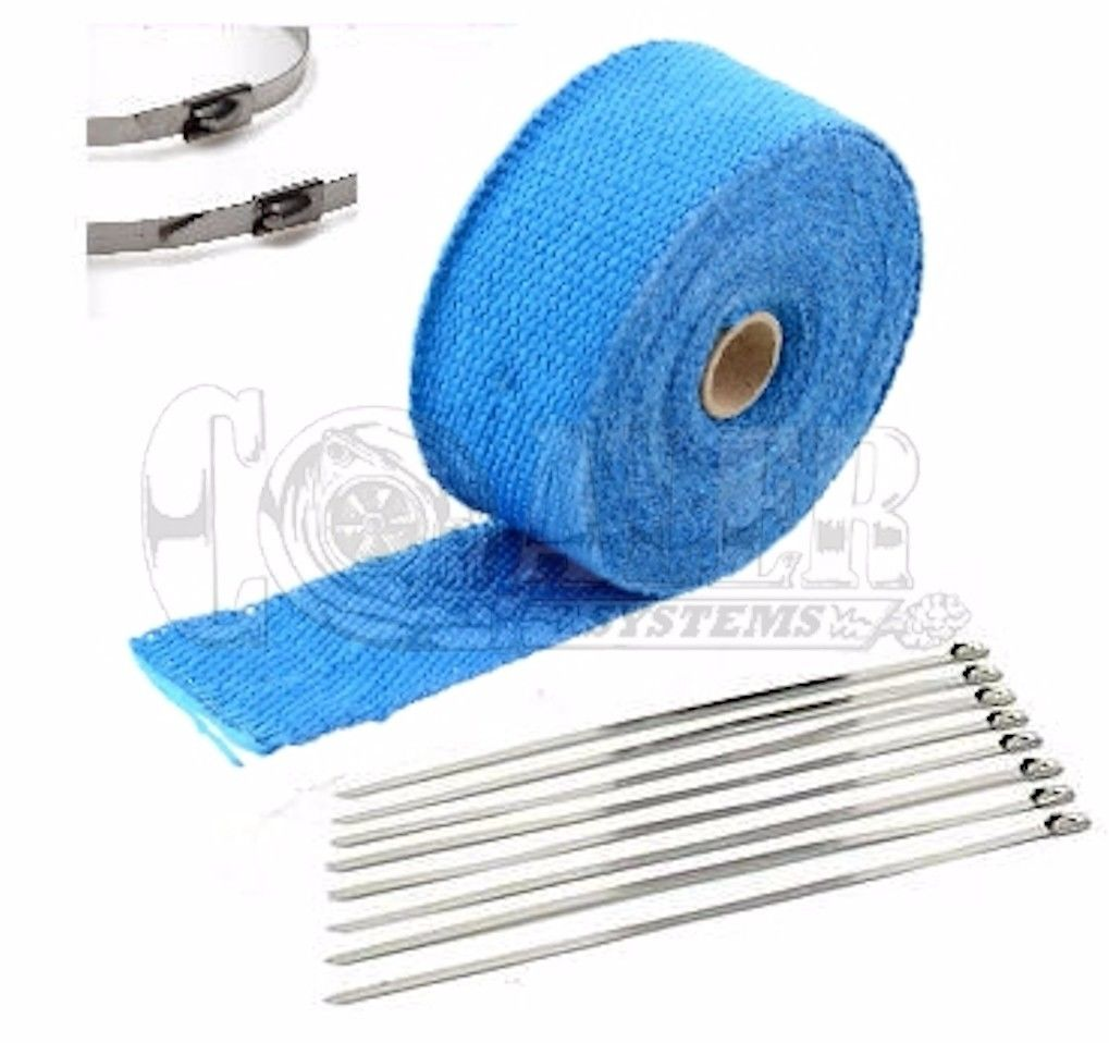 blue exhaust pipe heat wrap 2 x 25 motorcycle header insulation