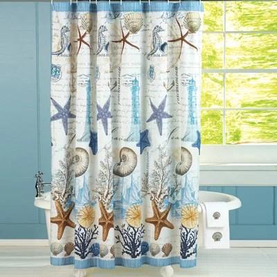 tropical seahorse seashells starfish coral beach coastal bathroom shower curtain