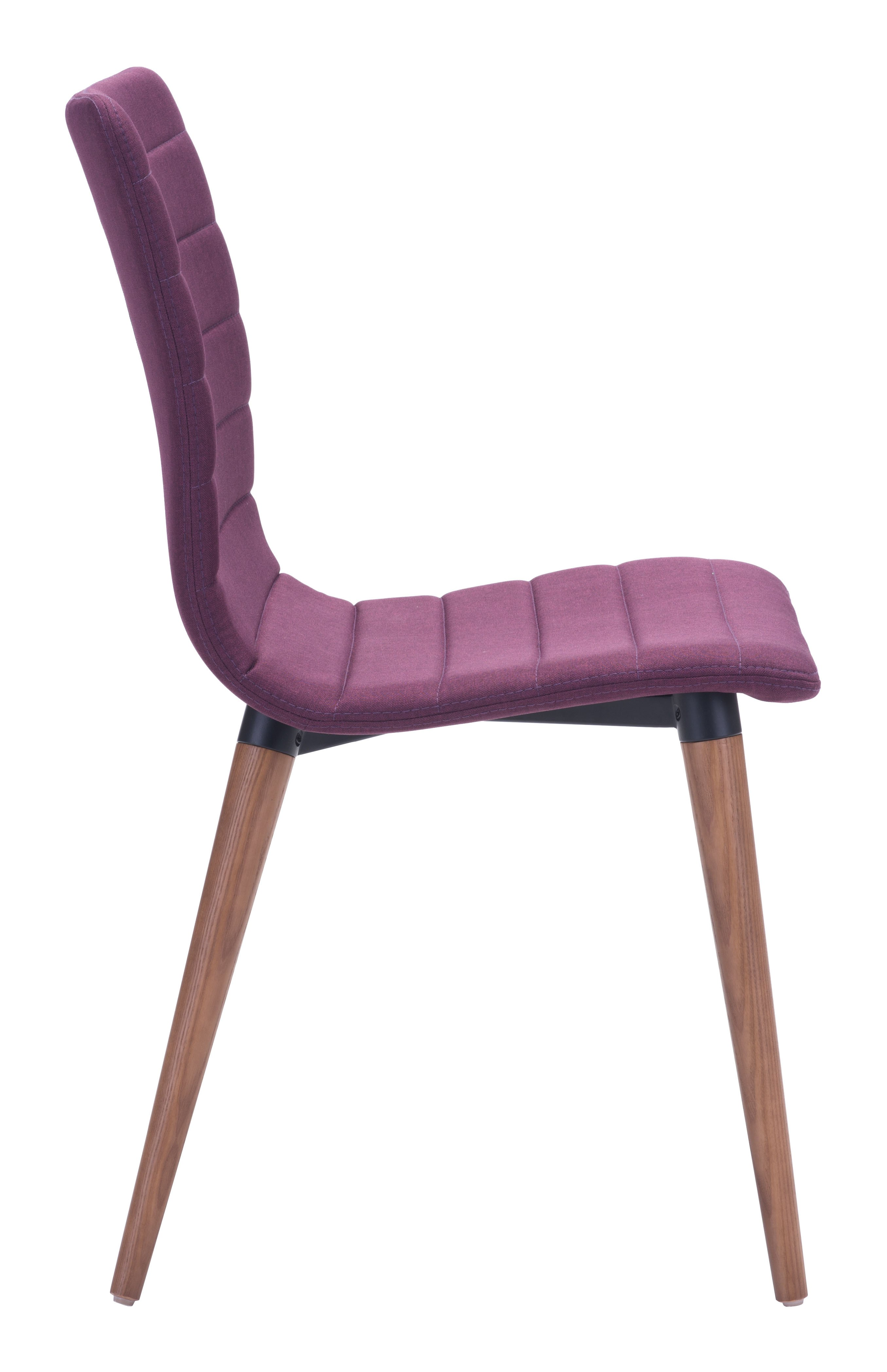 purple upholstered dining chairs minnie mouse desk chair room mid century modern set of 2