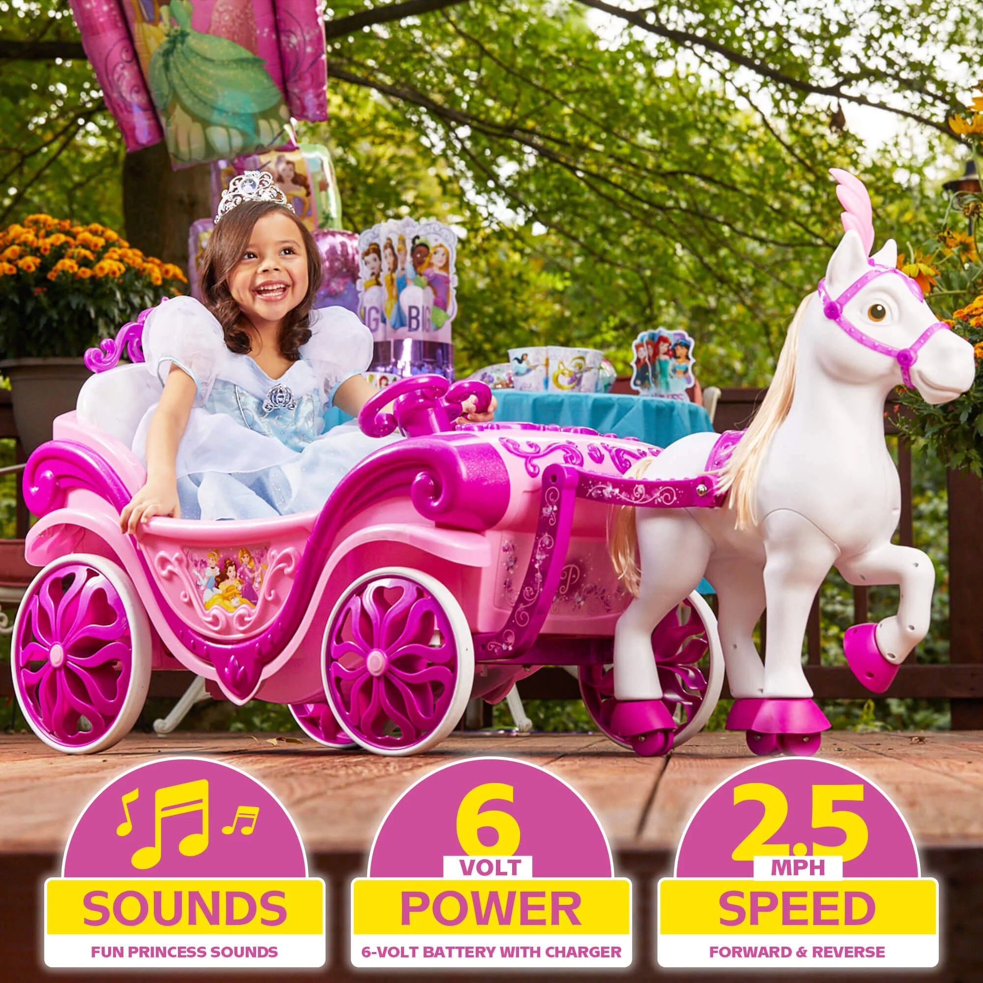 Huffy Disney Princess Royal Horse And Carriage Girls 6v