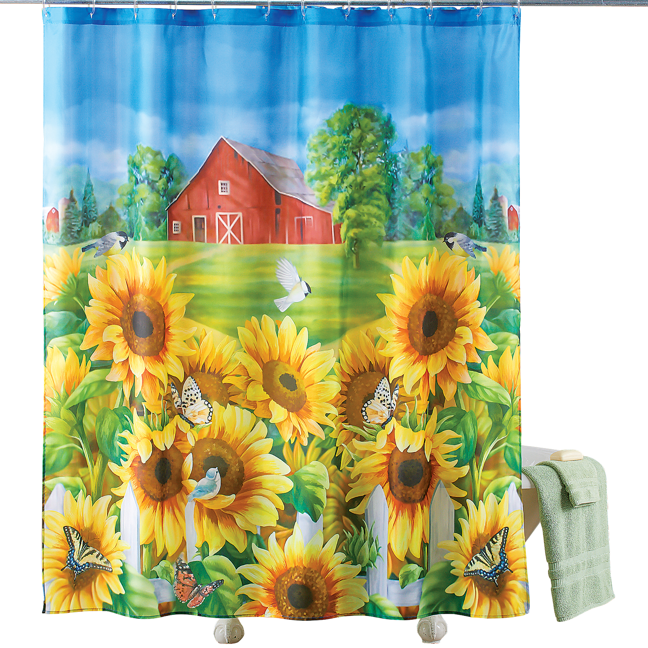 red barn farm and sunflower garden shower curtain