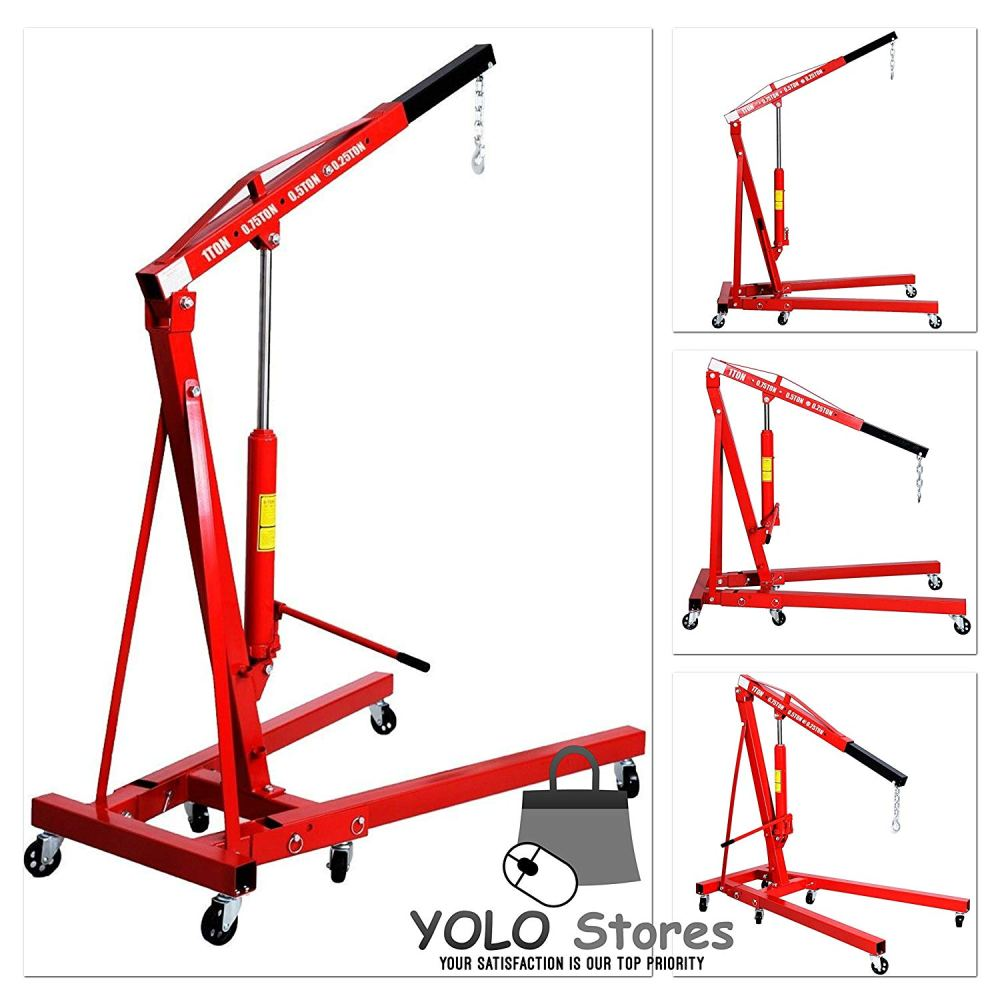 medium resolution of 1 ton folding hydraulic engine crane hoist lift stand picker wheel garage by yolo stores walmart com