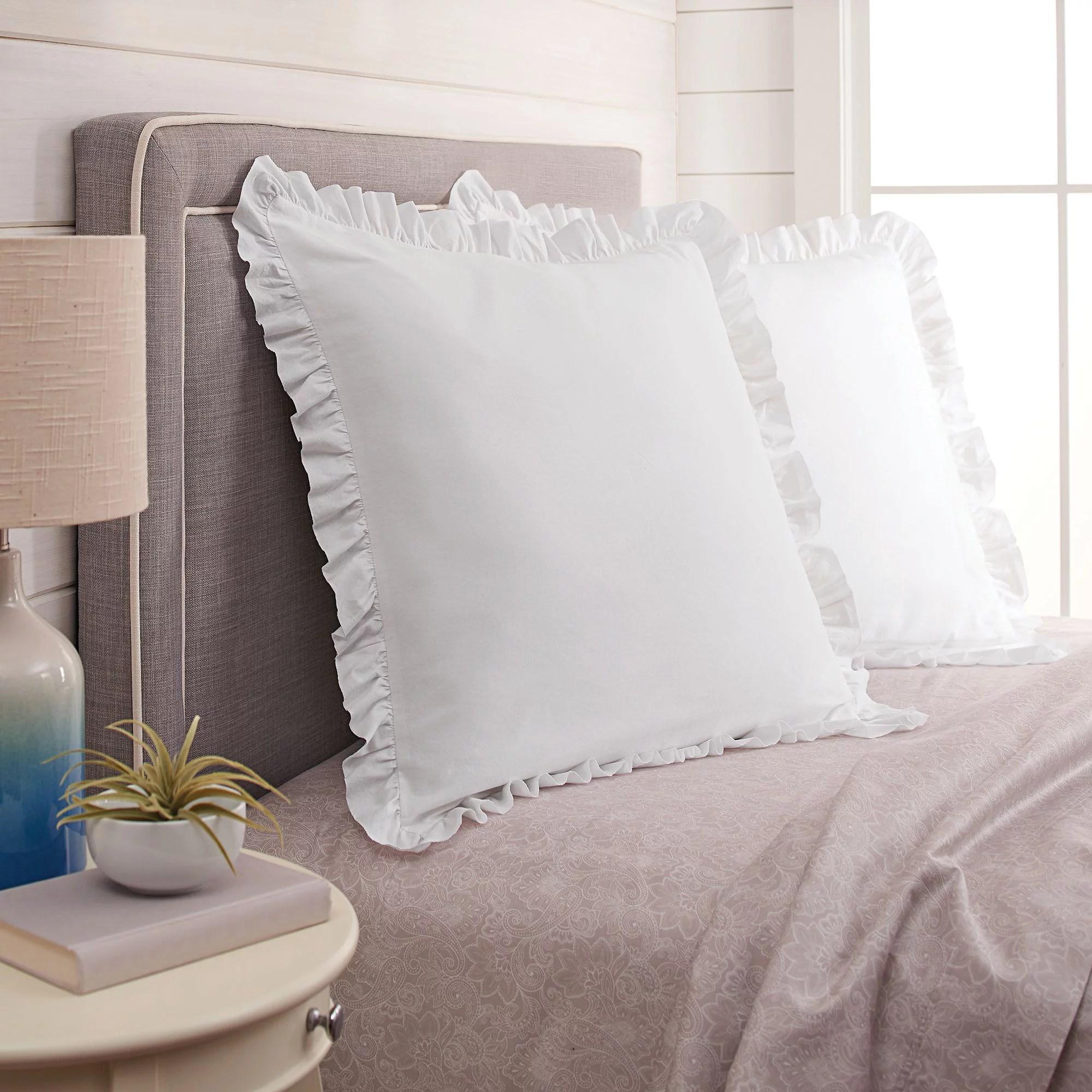 better homes gardens raw edge ruffle euro pillow sham 1 each white walmart com