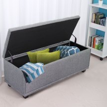 Gray Storage Ottoman Bench Fabric Furniture Foot Stool