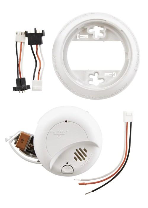 small resolution of first alert sa9120bpcn 120v ac hardwired smoke alarm with adapter plugs walmart com