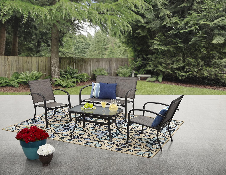 mainstays woodland hills 4 piece sling patio furniture conversation set gray metal