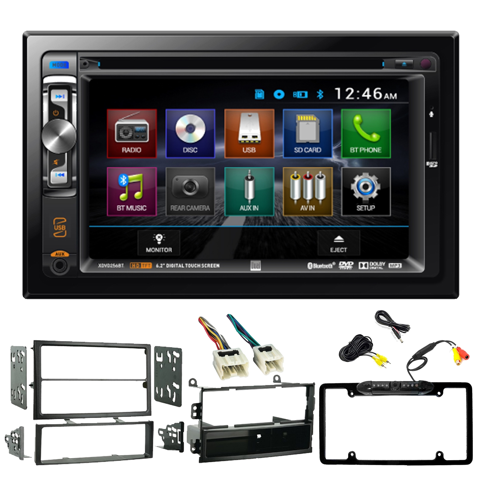 hight resolution of dual electronics xdvd256bt 6 2 2 din dvd cd bluetooth receiver metra 99 7402 dash kit for 2003 2005 nissan 350z metra wiring harness enrock car rearview